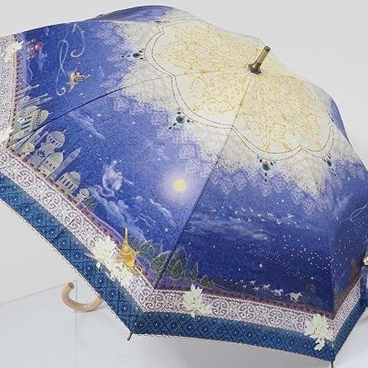 S0826 LINE DROPS Disney 晴雨兼用日傘 USED極美品 アラジン UV 50cm 中古