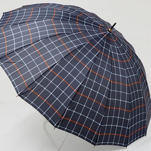 A9475 16本骨高級紳士傘 USED超美品 ネイビーチェック 大判65cm 中古