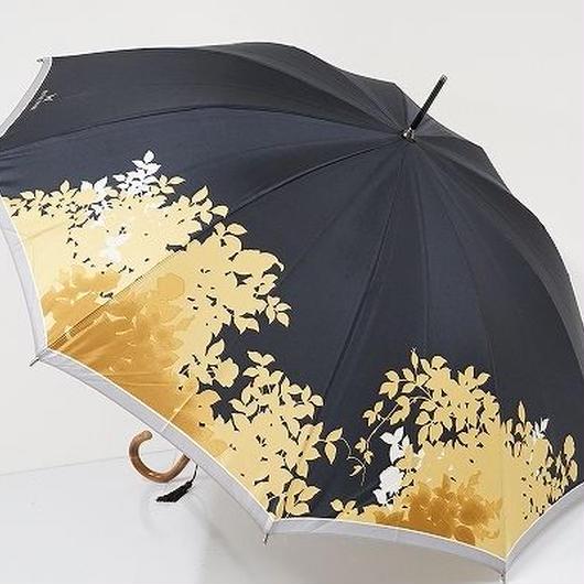 S0832 HANAE MORI ハナエモリ 高級傘 USED美品 シルエットリーフ バタフライ 55cm 中古 ブランド