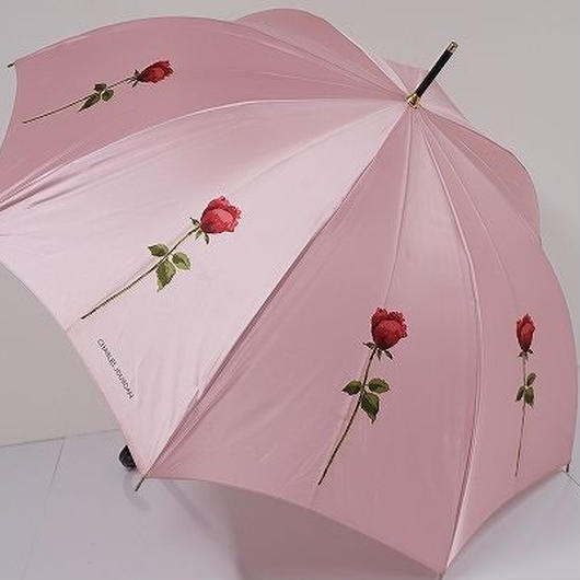 A0235 CHARLES JOURDAN シャルルジョルダン 耐風傘 USED美品 薔薇 60cm 中古 ブランド