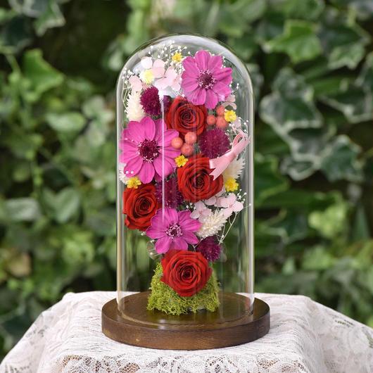 花ギフト ガラスドーム ジニア&ローズ RED