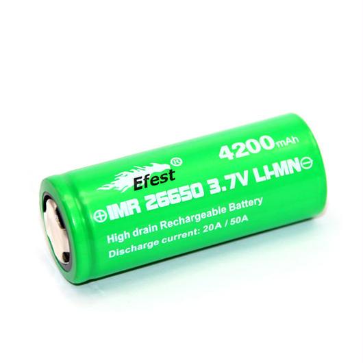 Efest IMR 26650 バッテリー 50A 4200mah 3.7V フラットトップ