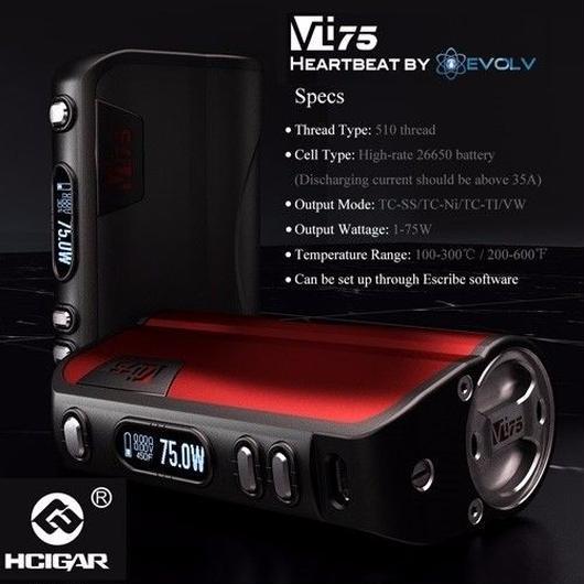 HCIGAR VT75 dna75チップ搭載 26650 mod