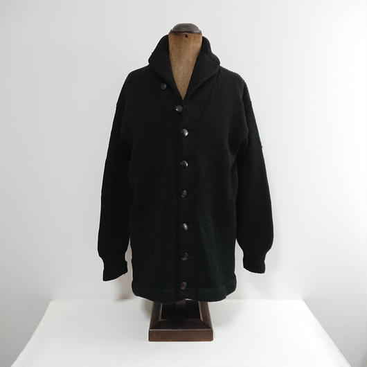 1940s   Black  Shawl collar   Wool cardigan