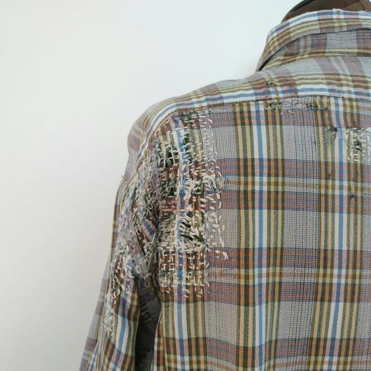 Checked pattern  cotton Long shirt