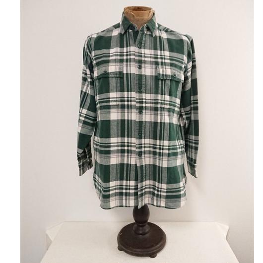 【 ~1980s L.L.Bean 】  Green check   cotton shirt