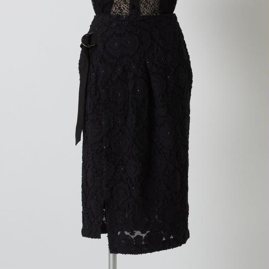 【eclat掲載商品】フラワージャガードスカート(ブラック)