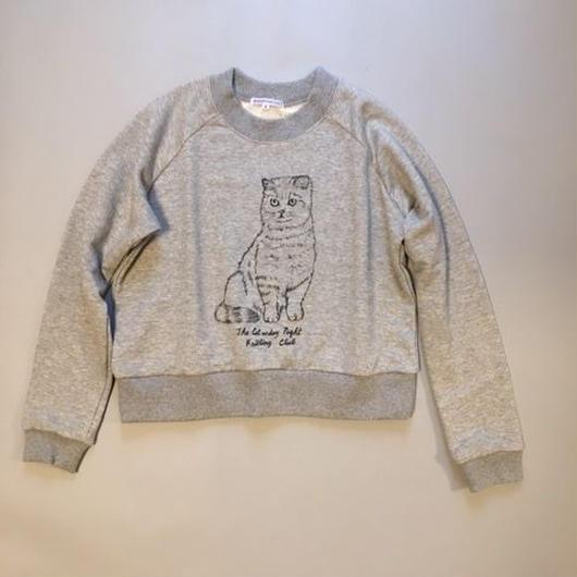 Caturday night knitting club sweatshirt Gray キャタデーナイトニッティングクラブ スウェット グレー