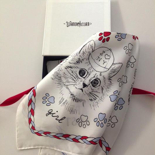 Cats Scarf ブルー/ホワイト/レッド