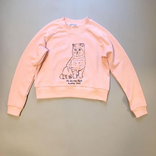 Caturday night knitting club sweatshirt  キャタデーナイトニッティングクラブ スウェット ピンク
