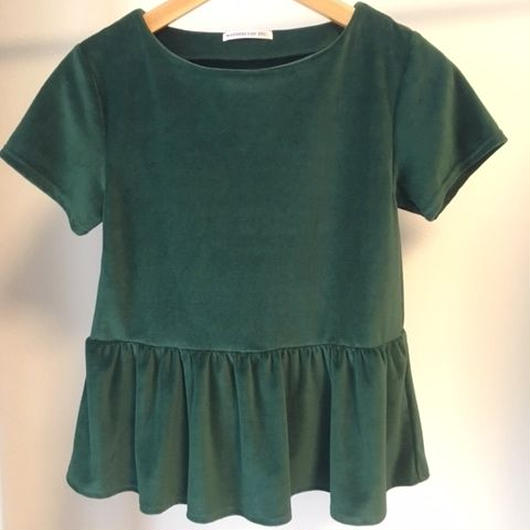 Frilled hem tee shirts greenフリルヘムTシャツ