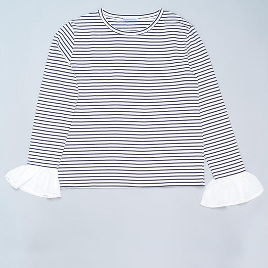 FRILLED SLEEVE T-SHIRTS WHITE/ NAVY