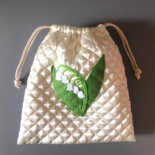 DRAWSTRING BAG LILY OF THE VALLEY 巾着バッグすずらん