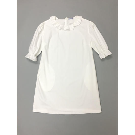 サンプルセール!RUFFLE NECK DRESS WHITE ラッフルネックドレスホワイト