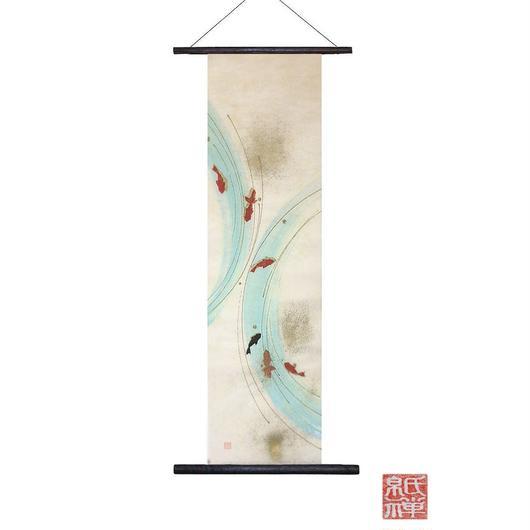 暗闇で光る!!創作和紙 インテリアタペストリー「紙禅」~Shi-Zen金魚/Gold fish  glow01