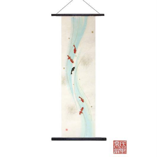 暗闇で光る!!創作和紙 インテリアタペストリー「紙禅」~Shi-Zen金魚/Gold fish  glow02