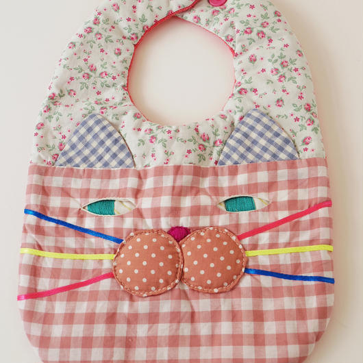 CAT BIB (M) / green flower×pink gingham check