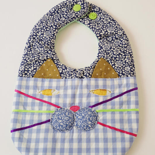 CAT BIB (S) / blue flower×blue gingham check