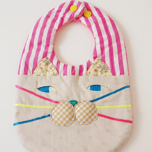 CAT BIB (S) / pink stripe×beige dot