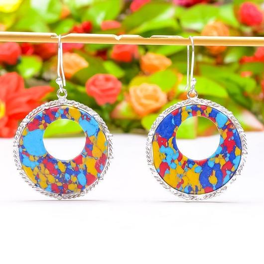 MOSAIC RAINBOW JASPER GEMSTONE 925SILVER earrings