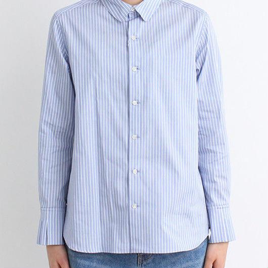iki ムジ/ストライプ/タンガリータックカフス 丸衿シャツ
