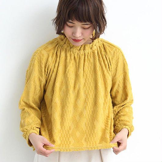 chambre de charme  ★ダイヤブロックパイルJQ衿フリルプルオーバー