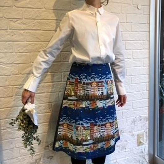 eiπe  コペンハーゲンの街並プリント デニムドッキングAラインスカート