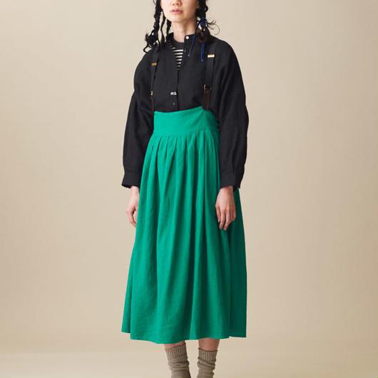 Malle chambre de charme  リネンレーヨン製品染め 作業着吊りスカート