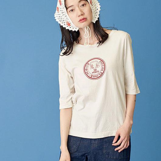 Malle chambre de charme  スーピマ60/2天竺 糸コマのロゴプリントTシャツ