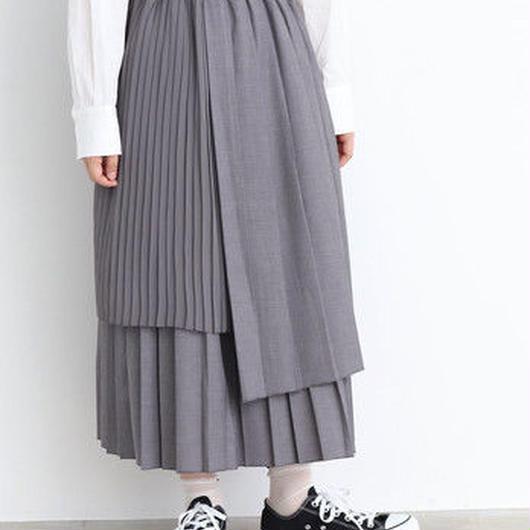 chambre de charme Noir 異素材プリーツ レイヤードスカート