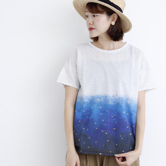 chambre de charme iki  ☆手描きグラデーションドットTシャツ