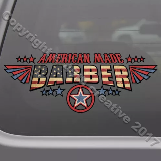 American made  Barber  Sticker