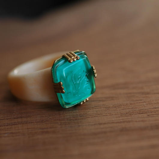 Green glass ring 【size:13】