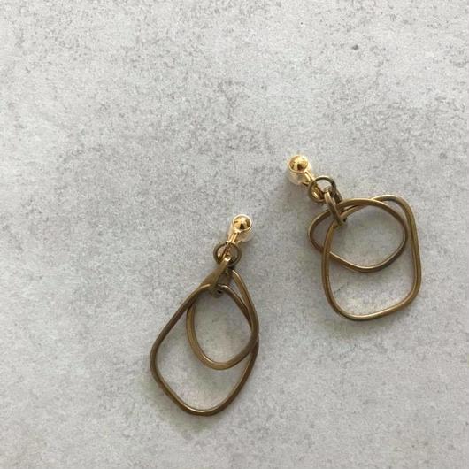 Brass charm earring
