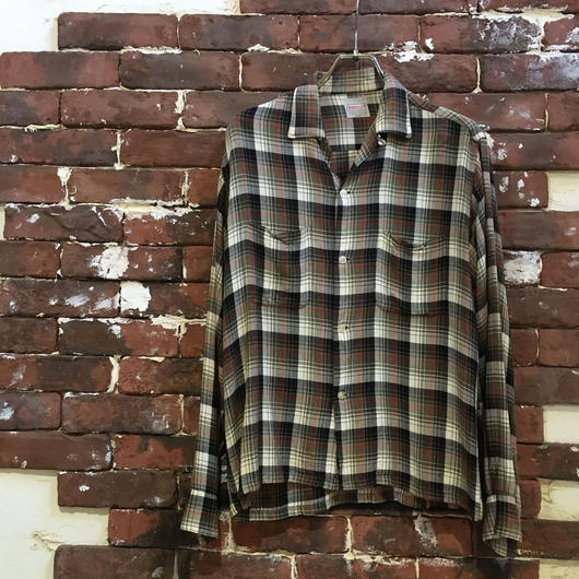 50-60S BRENT SHADOW CHECK RAYON SHIRT