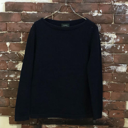 LAUREN COTTON BOAT NECK KNIT
