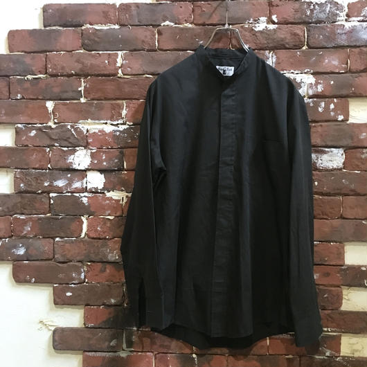 60-70S BAND COLLAR BLACK SHIRT