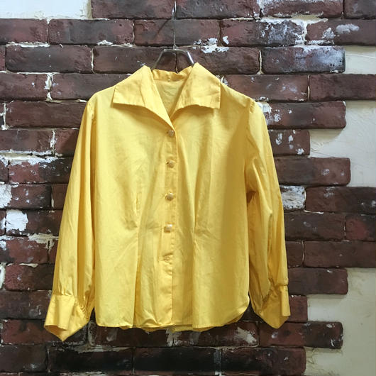 VINTAGE LADIES COTTON OPEN COLLAR BLOUSE