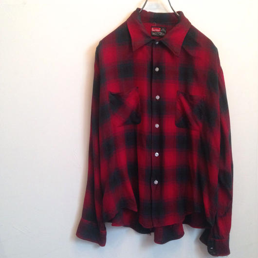 60-70's CAMPUS rayon ombre check shirt