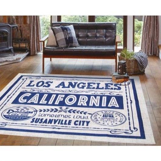 【ヴィンテージ風】洗える シェニールラグ 「ロサンゼルス」 アイボリー