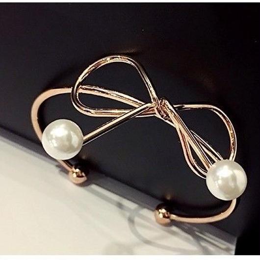 ribbon pearl  bracelet (Gold)