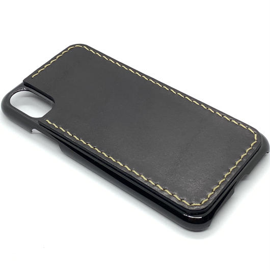 iPhone XR ケース【革張りタイプ】黒/ブラック