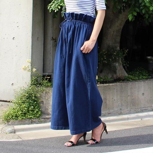 #襟ヌキシャツコーデしたいウエストギャザーワイドパンツ 品番:1117005 カラー:ナイト