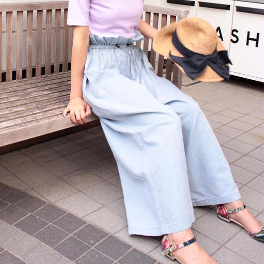 #襟ヌキシャツコーデしたいウエストギャザーワイドパンツ 品番:1117005 カラー:クラウド