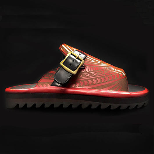 Leather Buckle Sandal / RED