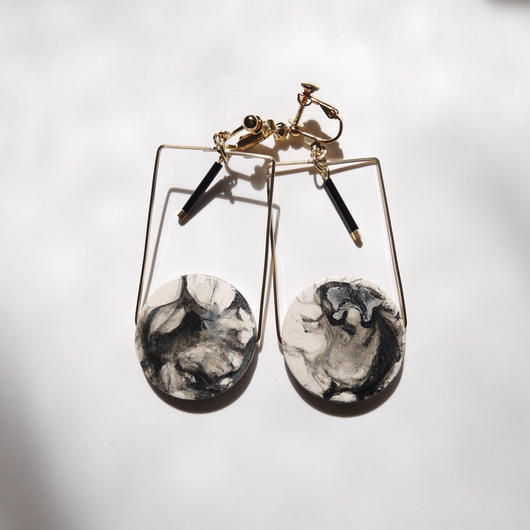 marble circle square pierce/earrings MONOTONE