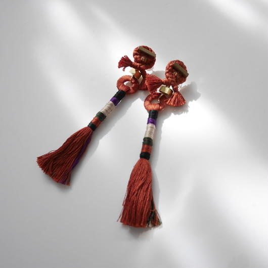straight yarn pierce /earrings TERRACOTTA