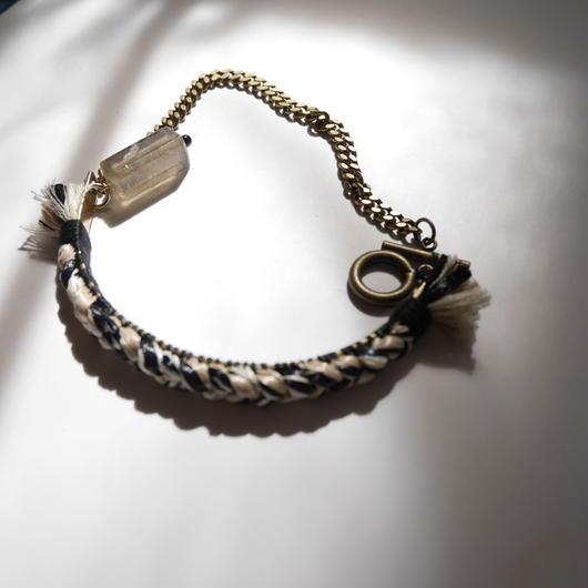 brass thread short necklace ECRU×BLACK