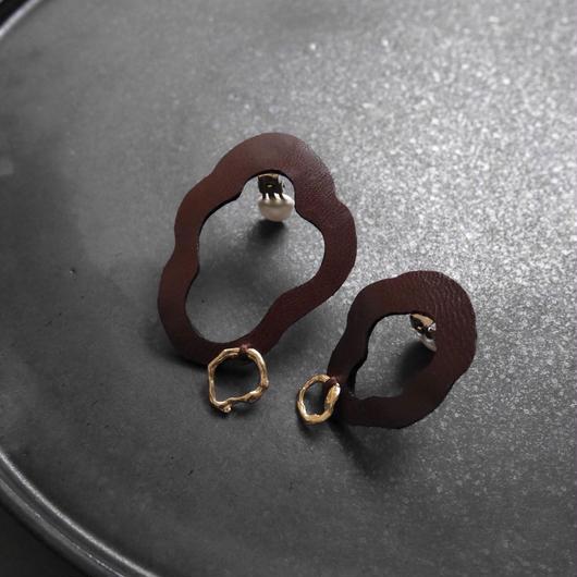 cell leather pierce/earrings BORDEAU