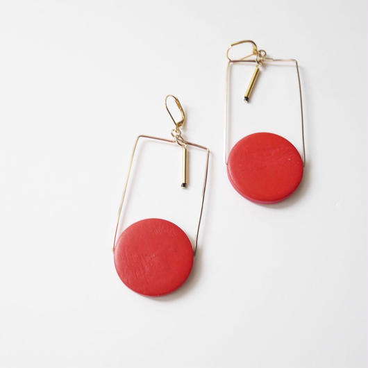 circle square pierce/earrings JAPANESE RED